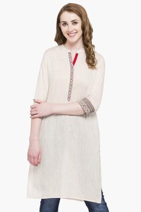 Womens Mandarin Neck Stripe Kurta