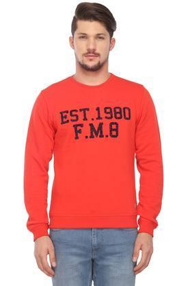 FLYING MACHINEMens Round Neck Graphic Print Sweatshirt