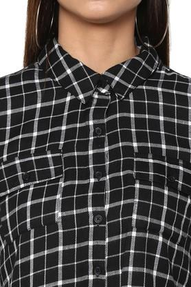Womens 2 Pocket Checked Shirt Dress