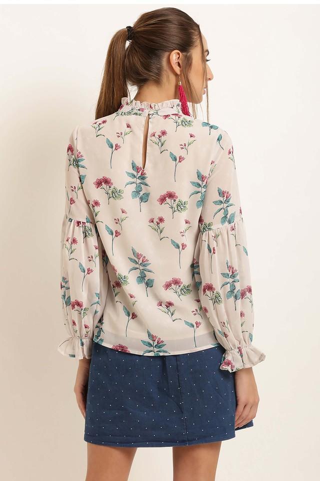 Womens Ruffled Collar Printed Top