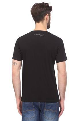 Mens Round Neck Self Print T-Shirt