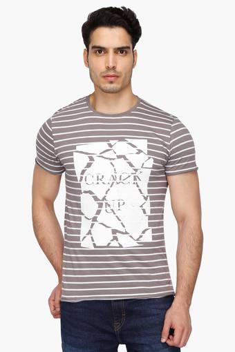 108be4bcea Buy WROGN Mens Round Neck Stripe T-Shirt | Shoppers Stop