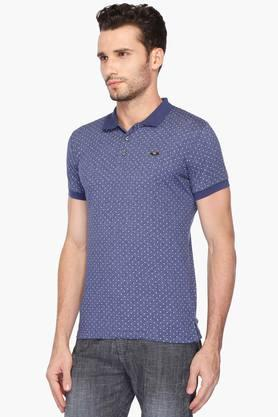Mens Slim Fit Printed Polo T-Shirt