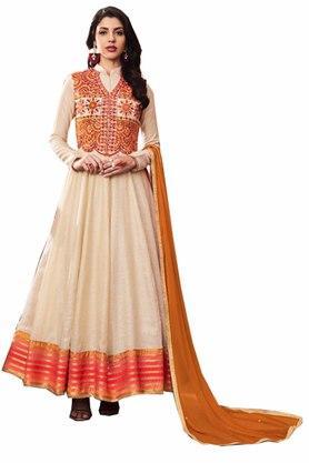 DEMARCAWomens Silk Designer Unstitched Anarkali Dress Material