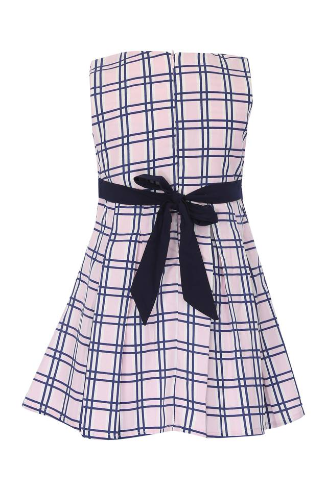 Girls Round Neck Checked A-Line Dress
