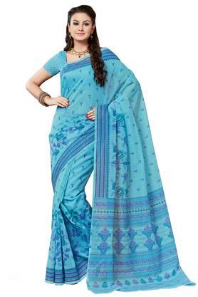 ASHIKAWomens Printed Saree With Blouse Piece - 204576994_9308