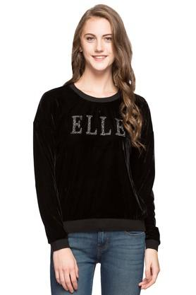 ELLE Womens Round Neck Solid Sweatshirt