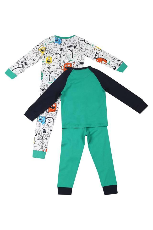 Boys Round Neck Printed Pants and Tee - Pack of 2