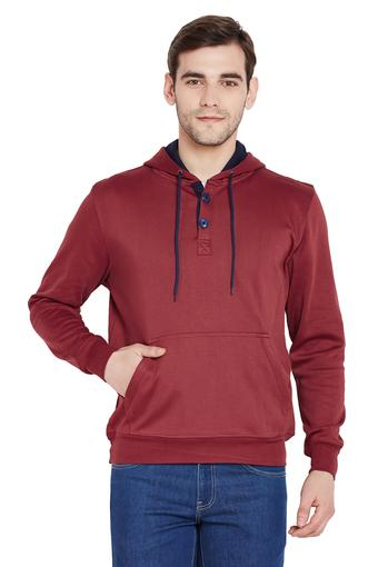 Mens Hooded Neck Solid Sweatshirt