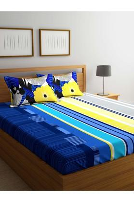 PORTICOStripe Double Bed Sheet With Pillow Cover