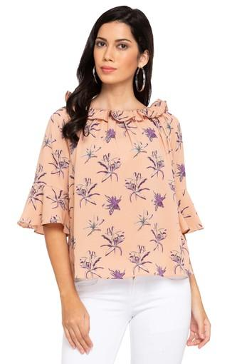 Womens Round Neck Printed Ruffled Top