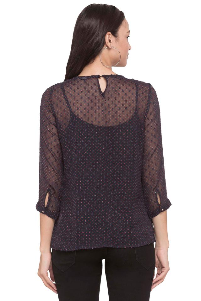 Womens Boat Neck Embroidered Top