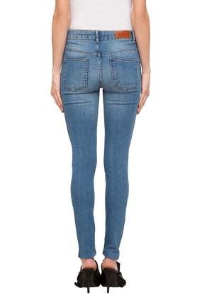 Womens 4 Pocket Whiskered Effect Jeans