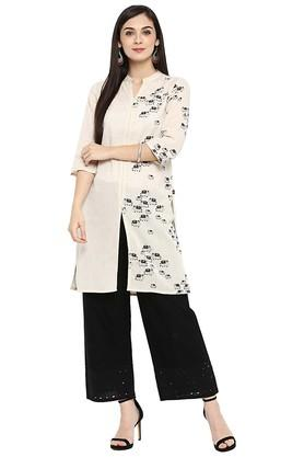 JUNIPER Womens Printed Straight Kurta With Front Slit & Piping