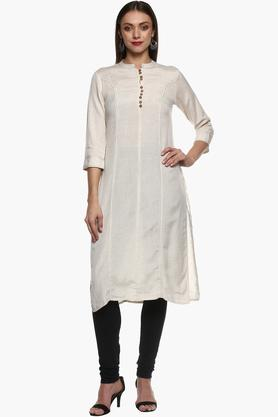 IMARA Womens Band Neck Slub Kurta