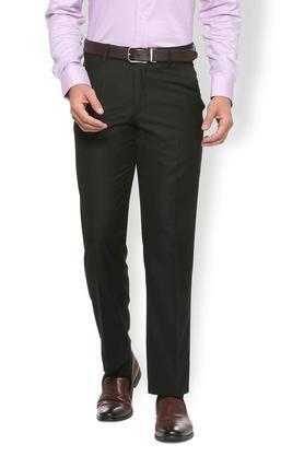 VAN HEUSENMens 4 Pocket Regular Fit Solid Formal Trousers