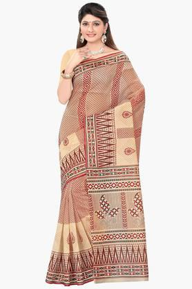DEMARCA Womens Cotton Blend Printed Saree - 203229485