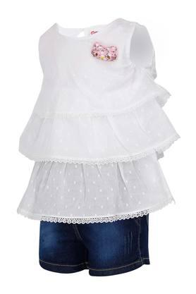 Girls Round Neck Embroidered Top and Washed Shorts