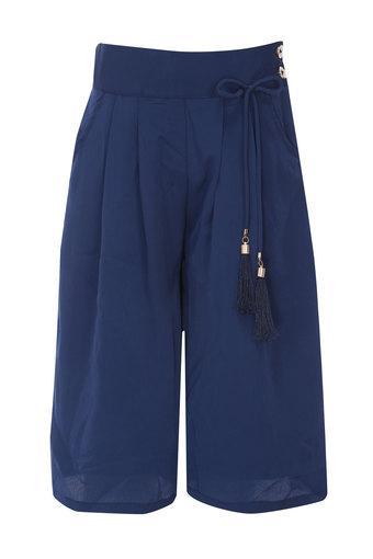 Girls 2 Pocket Solid Culottes