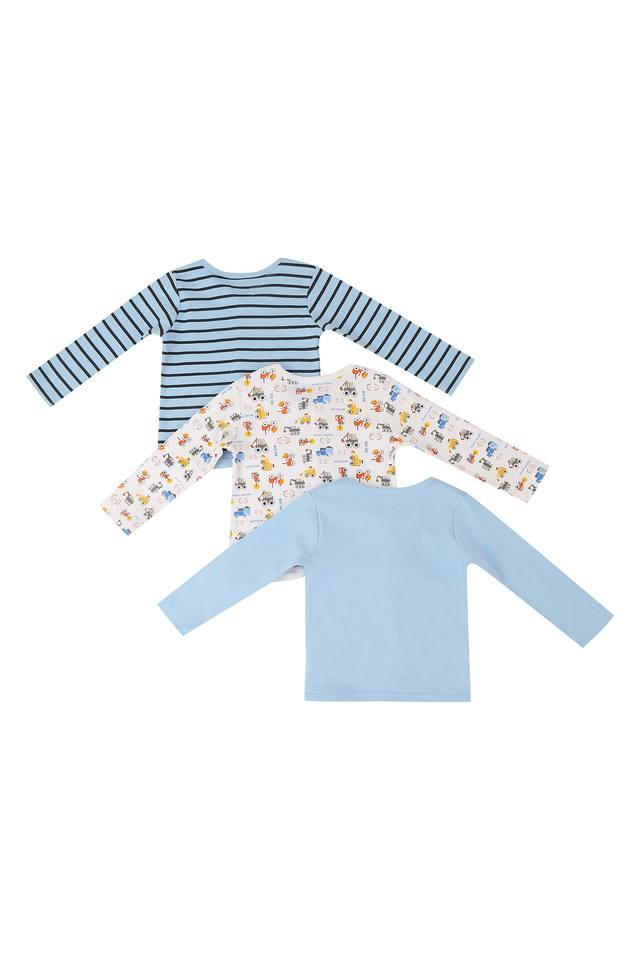 Boys Printed Striped and Solid Tee - Pack of 3