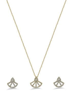 Womens Gold Plated Stone Studded Necklace Set