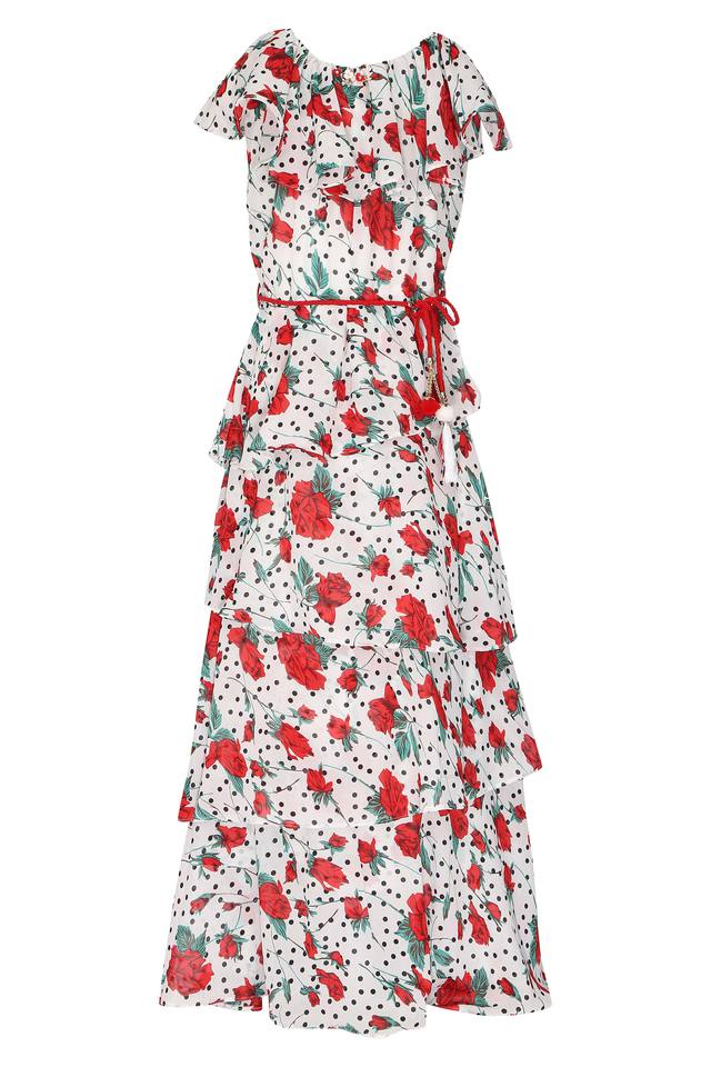 Girls Round Neck Floral Print Layered Dress