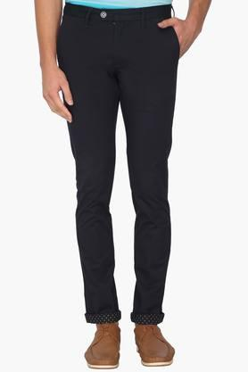 INDIAN TERRAIN Mens Slim Fit 4 Pocket Solid Chinos