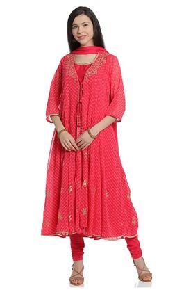 BIBAWomens Round Neck Embroidered Churidar Suit - 203731694_9557
