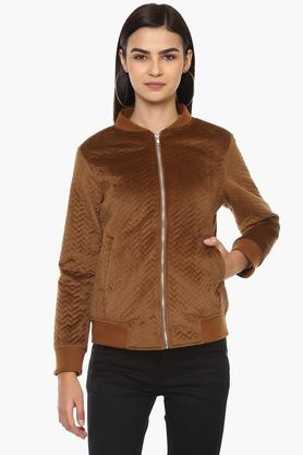 VIBEWomens Zip Through Neck Solid Jacket