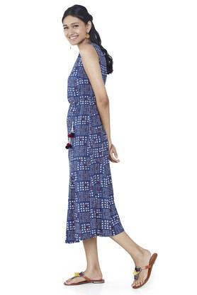 Womens V-Neck Printed Calf Length Dress
