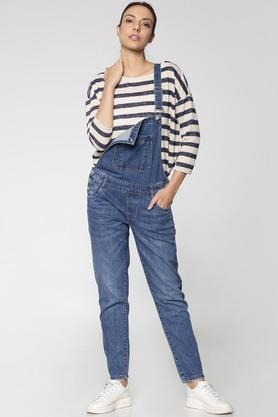 Womens Regular Fit Strappy Neck Heavy Wash Dungarees