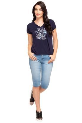 Womens V- Neck Printed T-Shirt