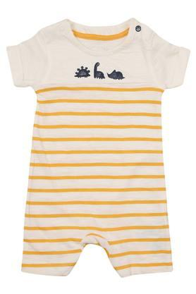 Kids Round Neck Striped Romper