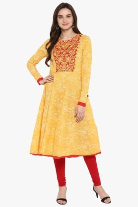 JUNIPER Womens Kalamkari Print A-Line Layered Kurta With Dori Tie-Up