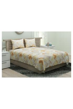 SPACES Modern Line Geometric Printed Single Bed Sheet With Pillow Cover - 204824852_9900