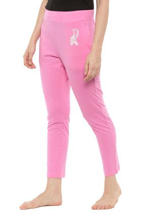 Womens 2 Pocket Solid Track Pants