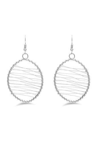 Womens Silver Plated Metallic Wire Drop Earrings