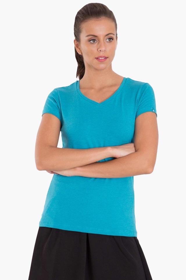 Womens V Neck Solid T-Shirt
