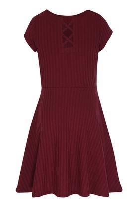 Girls Round Neck Striped Flared Dress