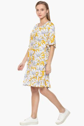 Womens Round Neck Floral Print Mini Dress