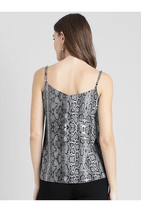 Womens Spaghetti Neck Printed Top