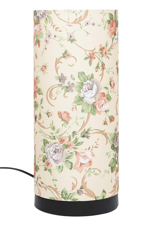 Cylindrical Floral Print Table Lamp