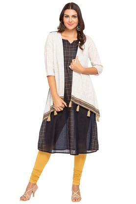 FUSION BEATS Womens Notched Neck Checked Kurta