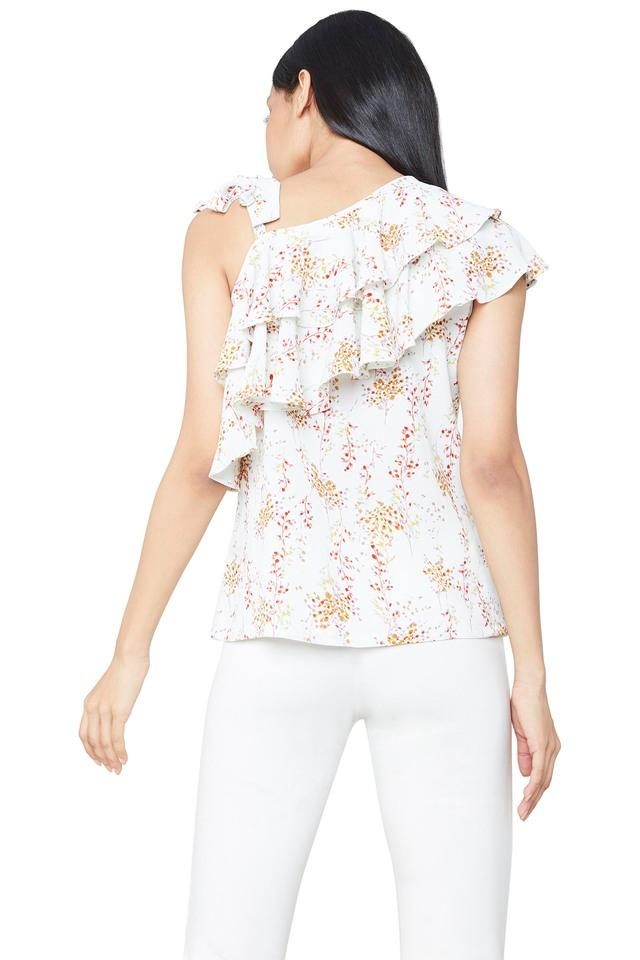 Womens Designer Neck Printed Top
