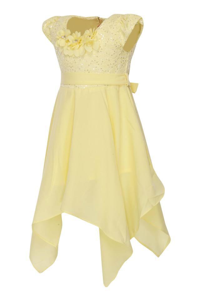 Girls Round Neck Assorted Asymmetric Dress with Belt
