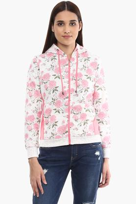K MARK JACKETS Womens Hooded Floral Print Sweatshirt