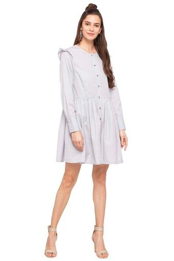 Womens Round Neck Solid Shirt Dress