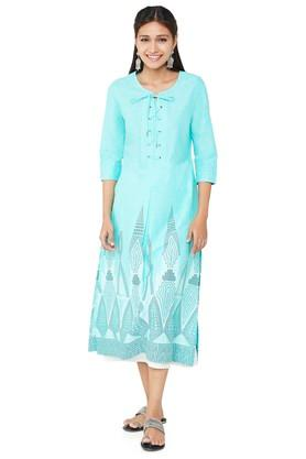 GLOBAL DESI Womens Tie Up Neck Printed Tunic
