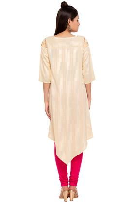 Womens Round Neck Stripe Embroidered Asymmetrical Kurta