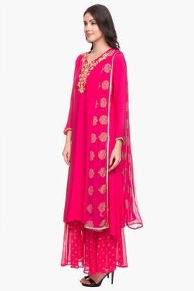 Womens Sweetheart Neck Embroidered Palazzo Suit